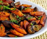 Cenouras Assadas com Cogumelos e Tomilho(vegana)