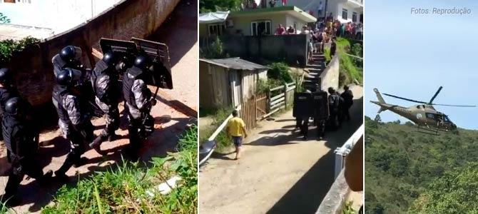 Bope e helicóptero da PM são acionados para conter farra do boi em Governador Celso Ramos(SC)