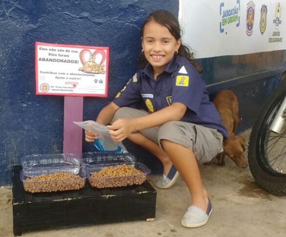 Menina de 7 anos cria estrutura para alimentar cães abandonados no GrandeRecife
